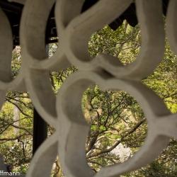 Ornament in einem Pavillon im Garten des bescheidenen Beamten in Suzhou
